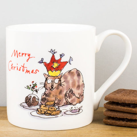 Merry Christmas Cat & Mince Pies China Mug by Quentin Blake