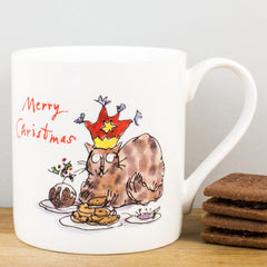 Quentin Blake Cat & Mince Pies Merry Christmas Bone China Gift Mug