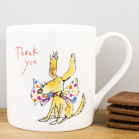 Thank You Dog Bow Tie China Mug by Quentin Blake