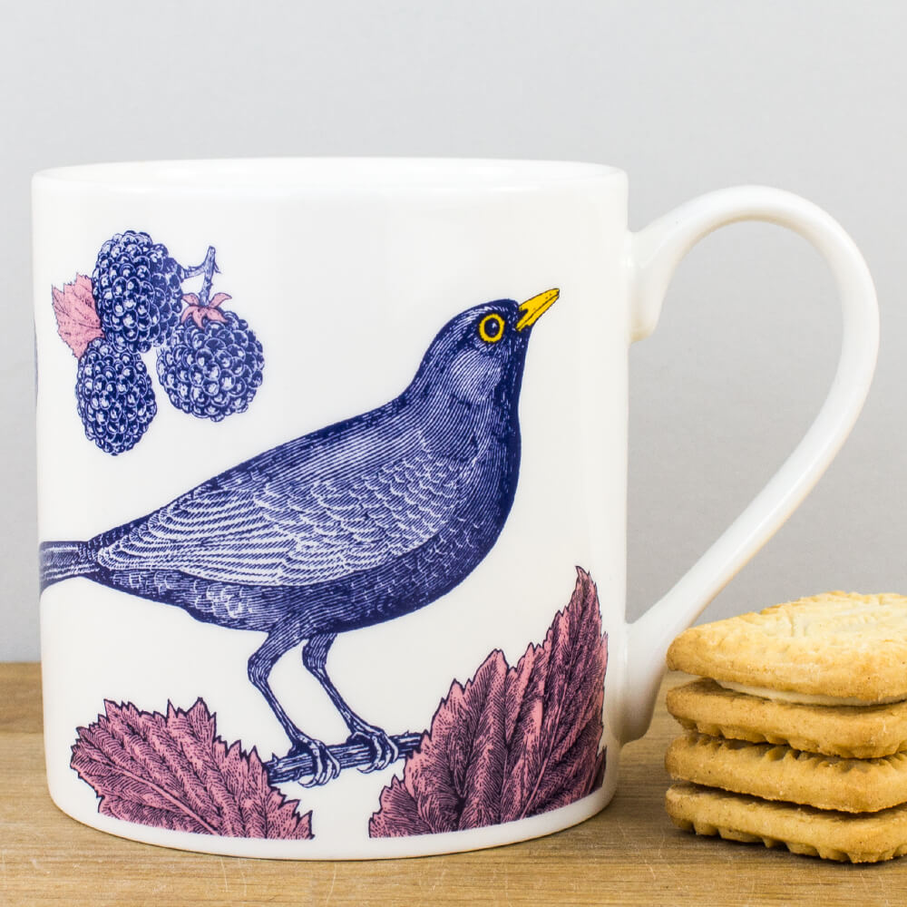 McLaggan Thornback & Peel Blackbird & Bramble Fine Bone China Gift Mug