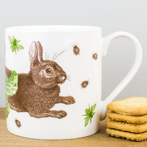 Rabbit & Cabbage China Mug by Thornback & Peel