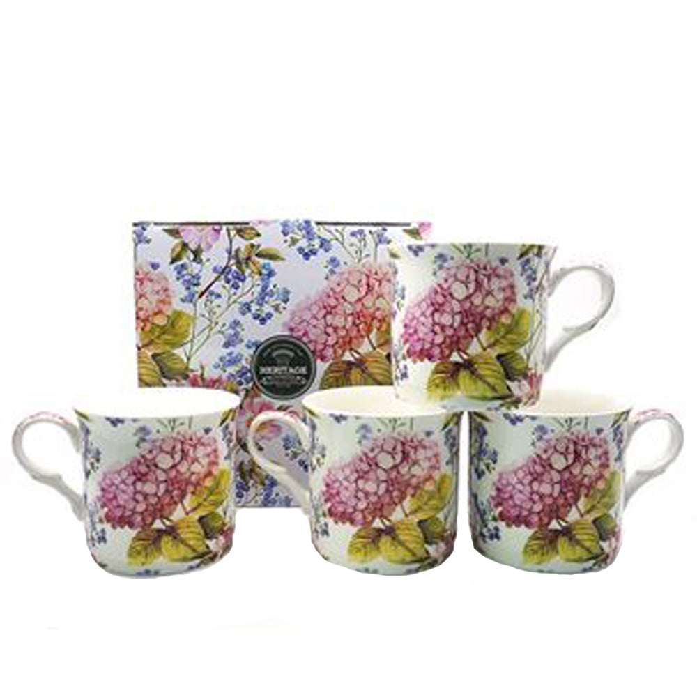 Heritage Midsummer Floral Set of 4 Mugs Fine Bone China Coffee Cups