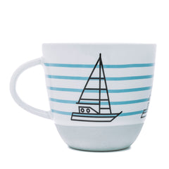 Bert & Buoy Nautical Pebble Grey Ship Ahoy Porcelain Gift Boxed Mug