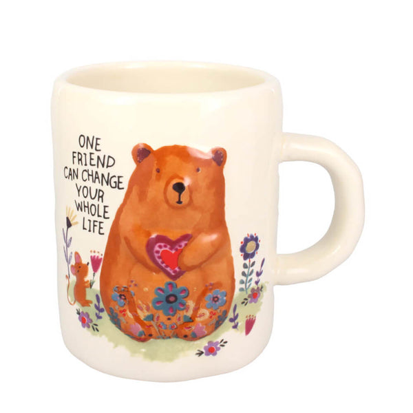 Natural Life One Friend Can Change Your Life Bear 470ml Ceramic Mug