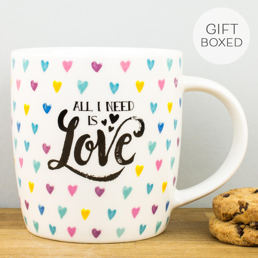 Legami All I Need is Love Hearts China Personalised Gift Box Mug