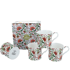 Heritage Oriental Peony Floral Set of 4 Mugs Bone China Coffee Cups