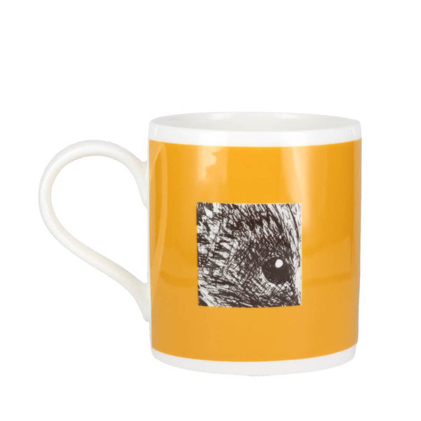 Perkins & Morley Animal Ink Hedgehog Sketch Yellow Fine Bone China Mug