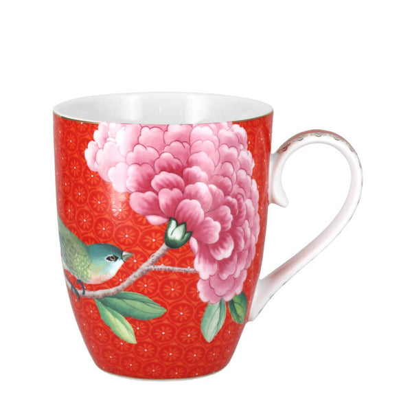 Pip Studio Blushing Birds Red Mug 350ml Porcelain Coffee Cup