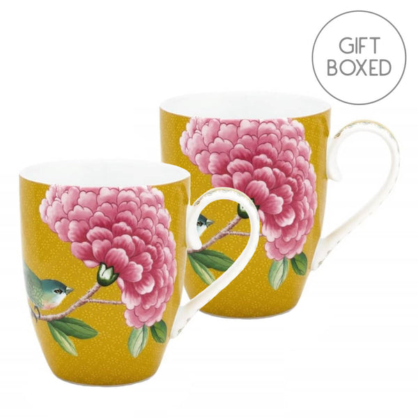 Pip Studio Blushing Birds Yellow Mug Set