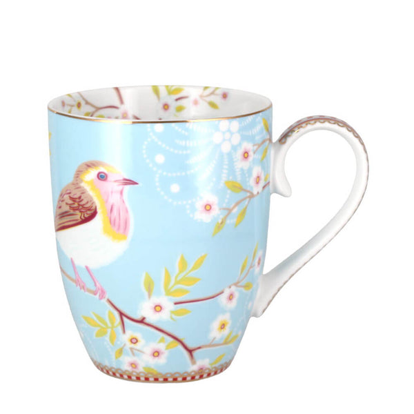 Pip Studio Early Bird Blue Mug 350ml White Porcelain Coffee Cup