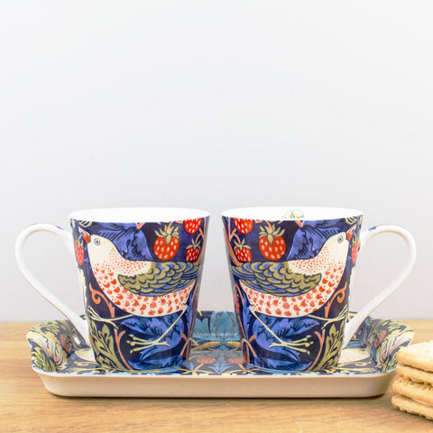 Morris & Co. Strawberry Thief Indigo Mug & Tray Set by Pimpernel