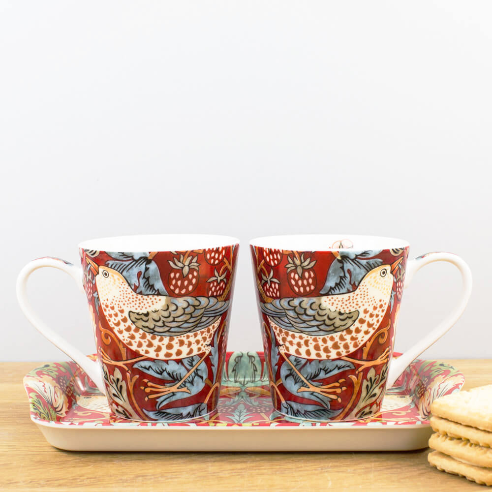 Pimpernel Morris & Co. Strawberry Thief Red Gift Boxed Mug & Tray Set