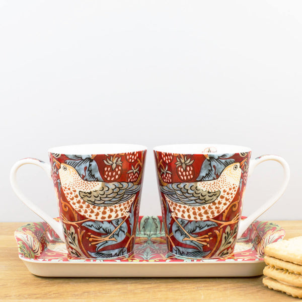 Morris & Co. Strawberry Thief Crimson Mug & Tray Set