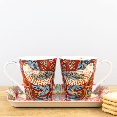 Morris & Co. Strawberry Thief Crimson Mug & Tray Set by Pimpernel