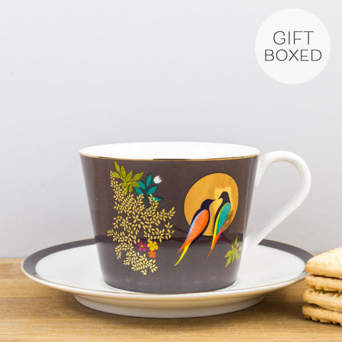Sara Miller Chelsea Collection Grey Cup & Saucer by Portmeirion
