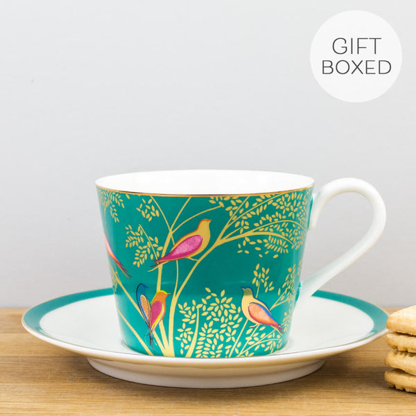 Sara Miller Chelsea Collection Green Cup & Saucer