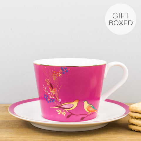 Sara Miller Chelsea Collection Pink Cup & Saucer by Portmeirion