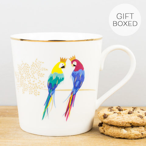 Sara Miller Piccadilly Posing Parrots China Mug by Portmeirion