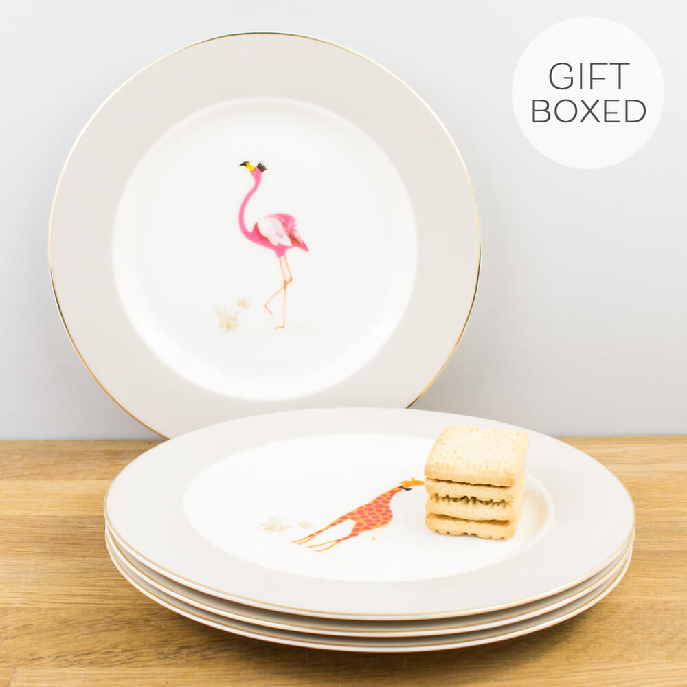Portmeirion Sara Miller Piccadilly Gold Gift Boxed Cake Plate Set