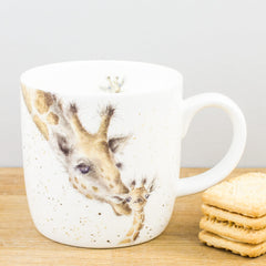 Royal Worcester Wrendale Designs First Kiss Giraffes Bone China Mug
