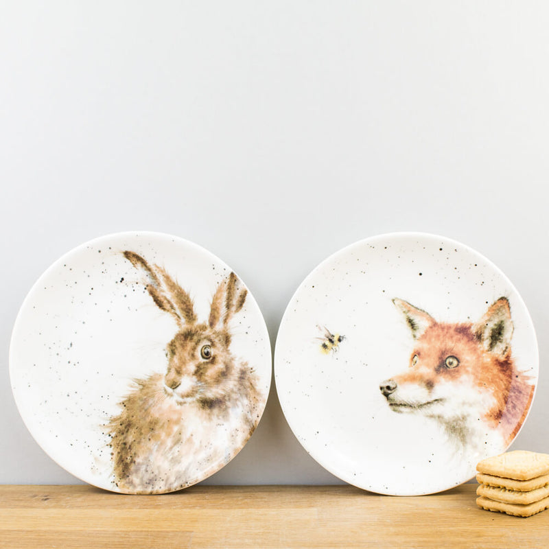 Royal Worcester Wrendale Designs Hare & Fox Coupe Plates Set of Two