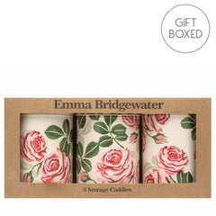 Elite Tins Emma Bridgewater Pink Roses Set of 3 Round Storage Caddies