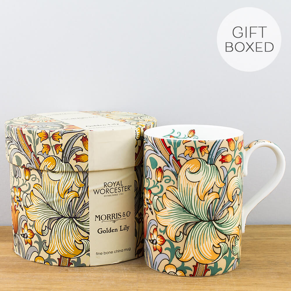 Royal Worcester William Morris Golden Lily Slate Gift Boxed Mug