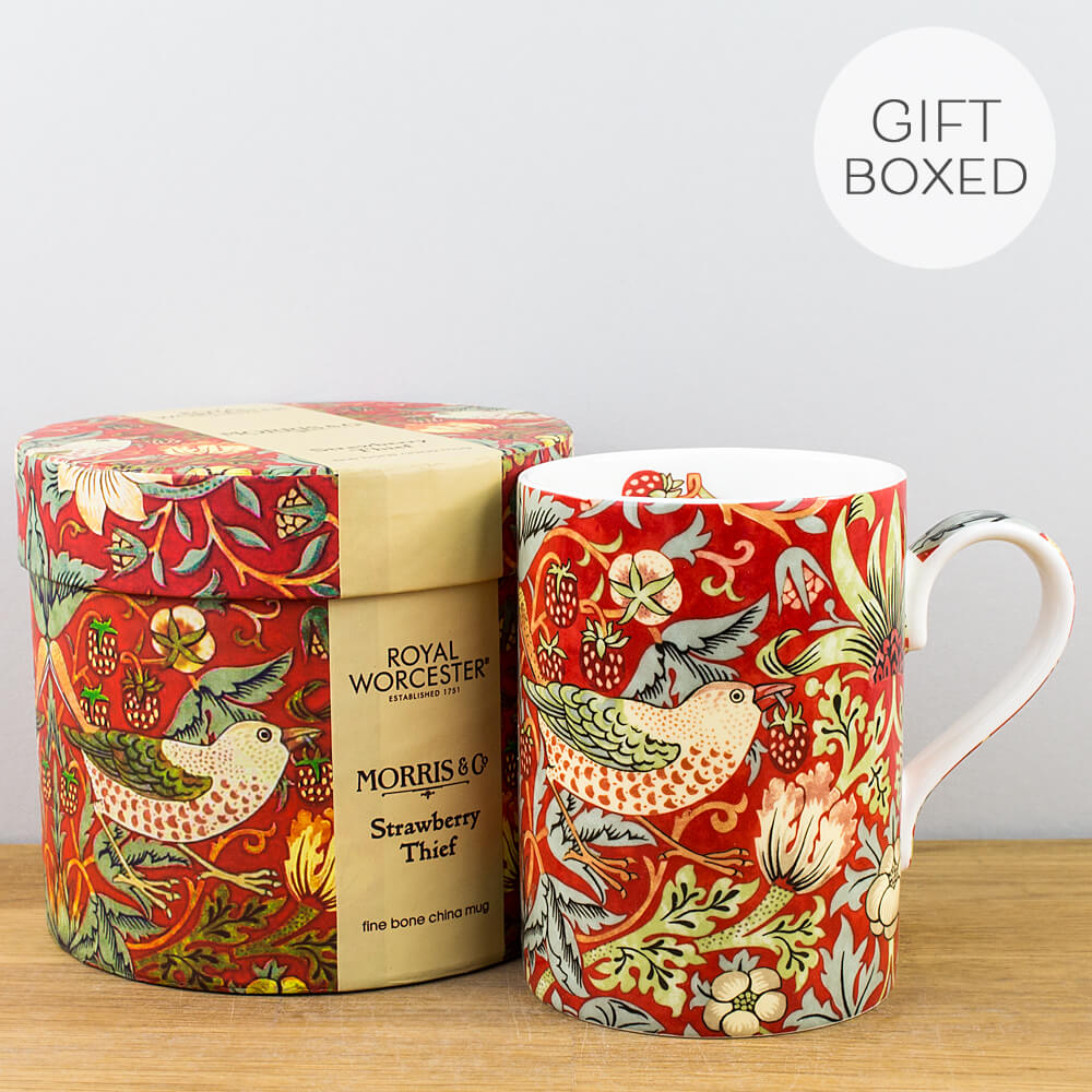 Royal Worcester William Morris Strawberry Thief Crimson Gift Boxed Mug