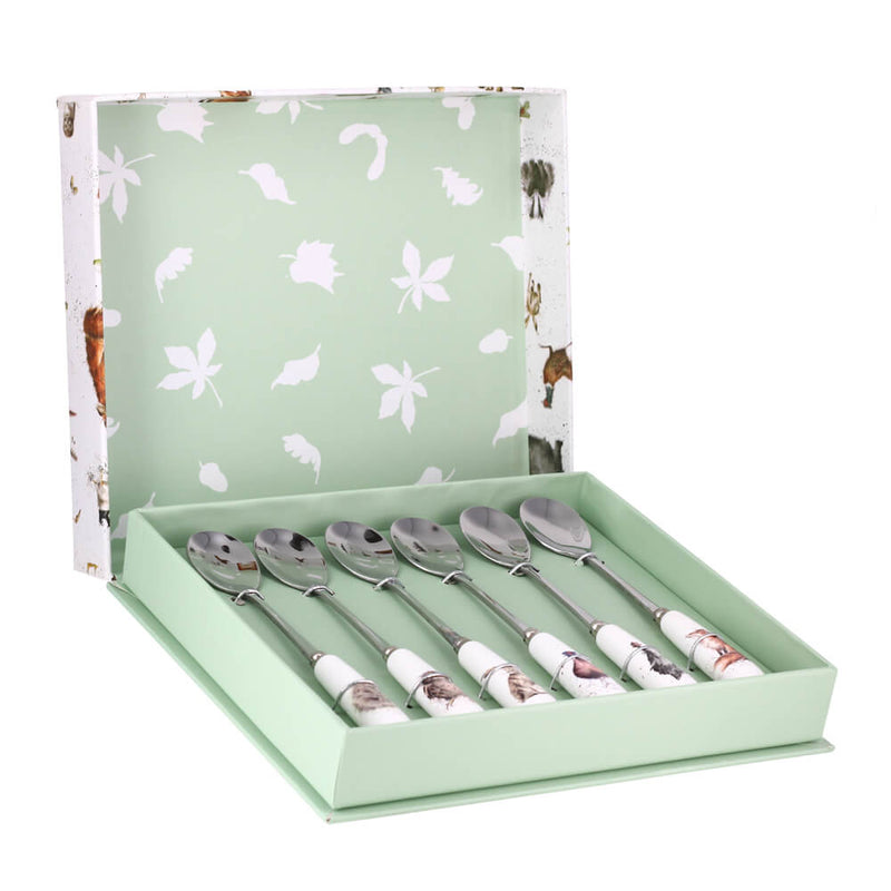 Royal Worcester Wrendale Designs Set of 6 Gift Boxed Animal Teaspoons