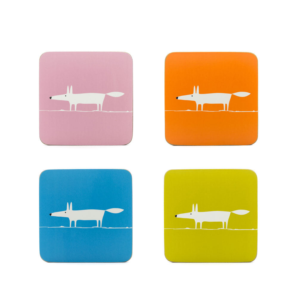 Scion Living Mr Fox Set of 4 Spring Colours Cork & Melamine Coasters