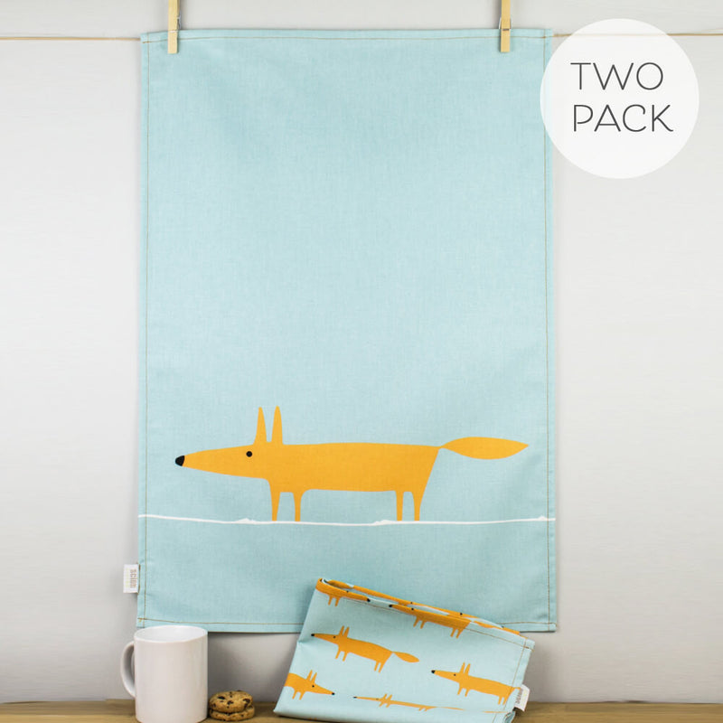 Scion Mr Fox Print Orange & Duckegg Blue Cotton Tea Towel Set of 2