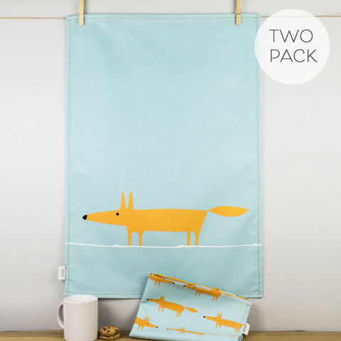 Mr Fox Orange & Duckegg Tea Towel Set by Scion