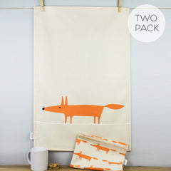 Scion Mr Fox Print Orange & Neutral Stone Cotton Tea Towel Set of 2