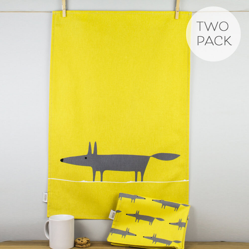 Scion Mr Fox Print Charcoal & Mustard Yellow Cotton Tea Towel Set of 2