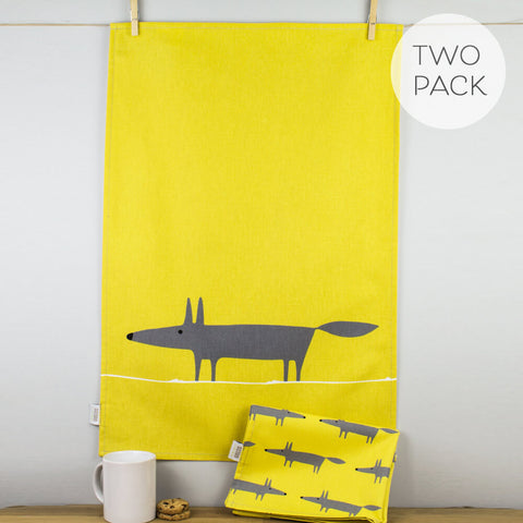 Mr Fox Charcoal & Yellow Tea Towel Set by Scion