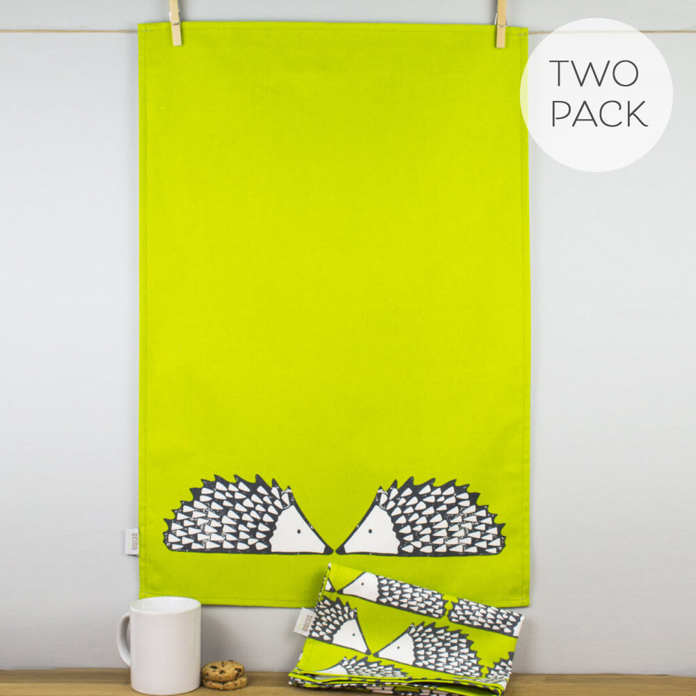 Scion Living Spike Hedghog Print Lime Green Cotton Tea Towels Set of 2