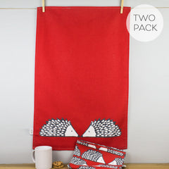 Scion Living Spike Hedghog Print Red Cotton Tea Towels Set of 2