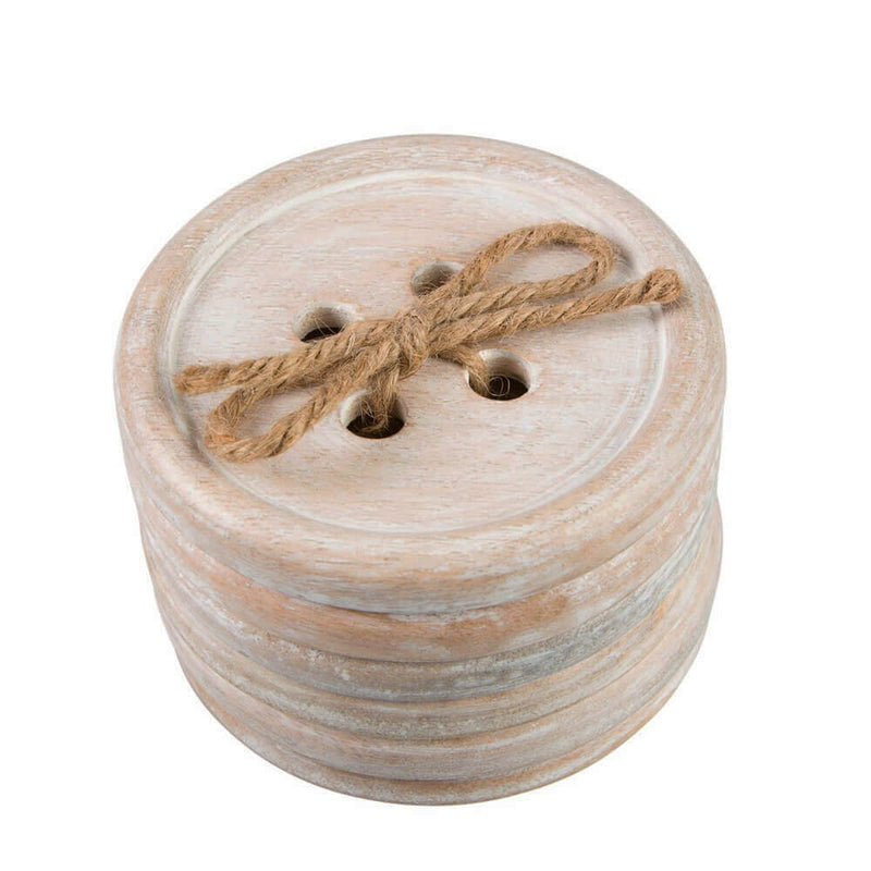 Wooden Giant Button Shaped Set of 4 Coasters by Sass & Belle
