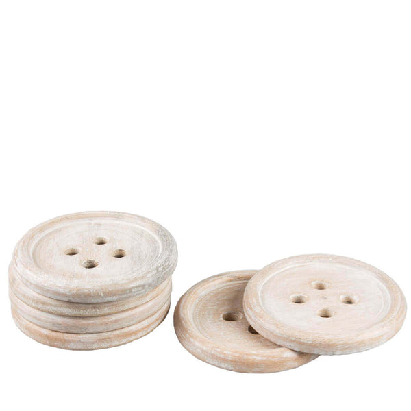 Wooden Buttons Set of 6 Coasters