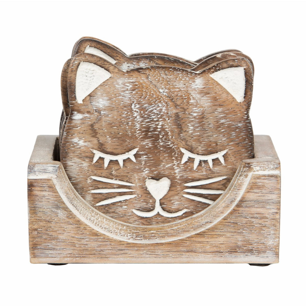 Wooden Cat Coasters Set of 6 with Wooden Holder by Sass & Belle