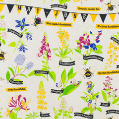 Bee Friendly Floral Pattern Cotton Tea Towel by Stuart Gardiner