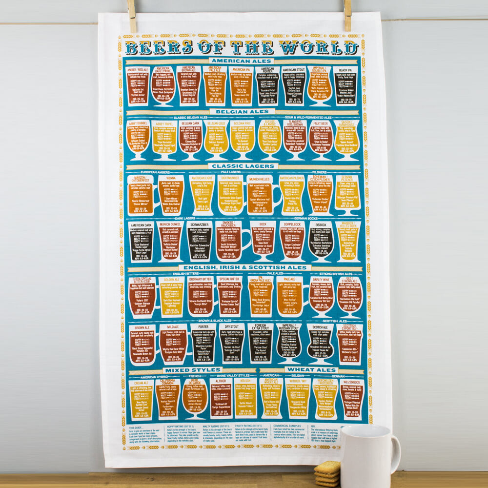 Beers of the World 100% Cotton Tea Towel by Stuart Gardiner UK Made
