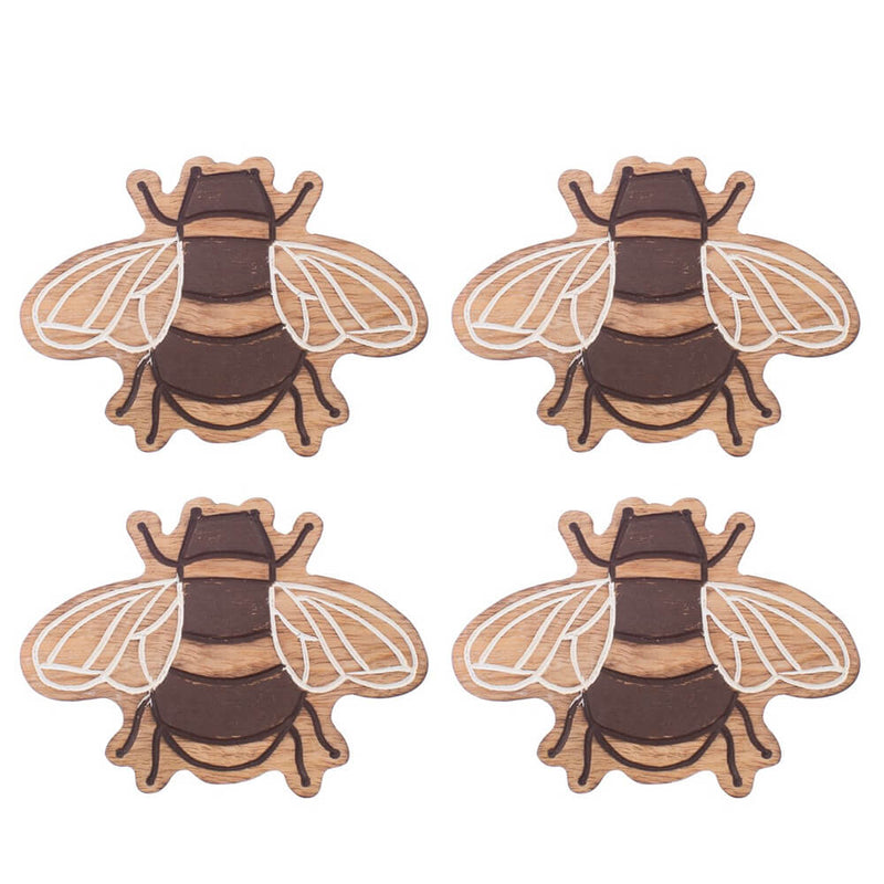 Sass & Belle Wooden Busy Bees Bumblebee Shaped Set of 4 Coasters