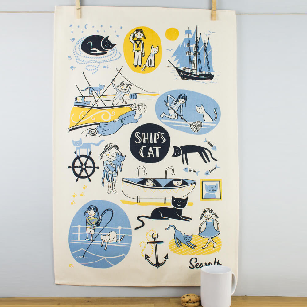 Seasalt The Cornish Home Ship's Cat Cotton Tea Towel by Ulster Weavers
