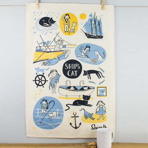 Seasalt Ship's Cat Cotton Tea Towel by Ulster Weavers
