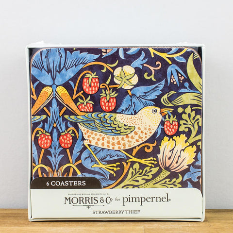 Morris & Co. Strawberry Thief Blue Coaster Set by Pimpernel