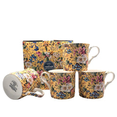 Heritage Summer Blossom Floral Set of 4 Mugs Fine Bone China Cups