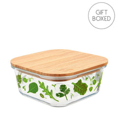 Sass & Belle Powered By Plants Small Glass & Bamboo Food Storage Box
