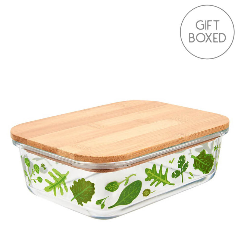 Sass & Belle Powered By Plants Large Glass & Bamboo Food Storage Box