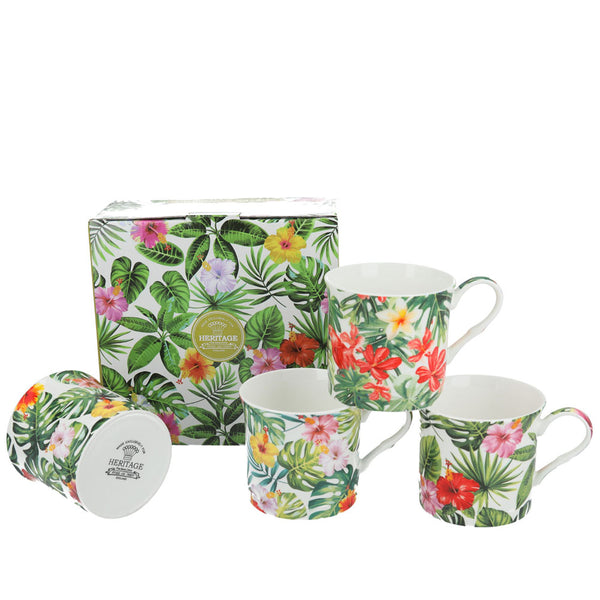 Heritage Tropical Leaves Mug Set